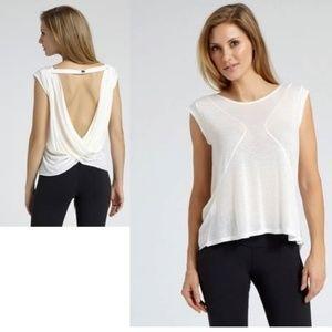 Zobha  Activewear Sheer Drape Back White Top, L